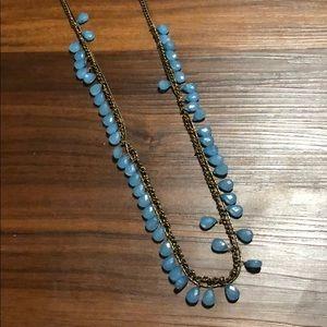 UO Blue Dangling Teardrop Beas Necklace